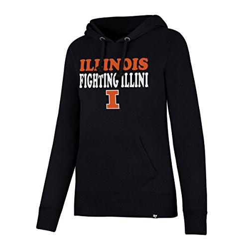 ('47 NCAA Illinois Illini Women's Headline Pullover Hoodie, Small, Fall Navy)