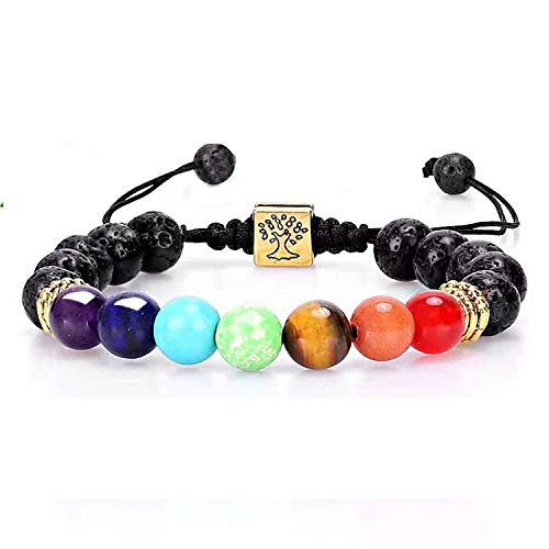 Chakra Bead Bracelets for Women - 7 Chakras 8mm Lava Rock Stone Bracelets - Men Stress Relief Yoga Beads Aromatherapy Essential Oil Diffuser Bracelets Anxiety Bracelet