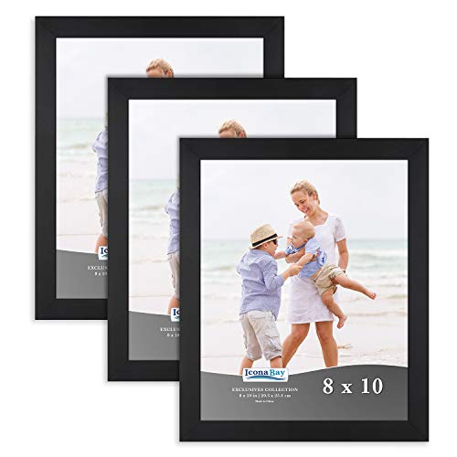 Icona Bay 8x10 Picture Frame (3 Pack, Black), Sturdy Wood Composite Photo Frame 8 x 10, Wall or Table Mount, Set of 3 Exclusives -