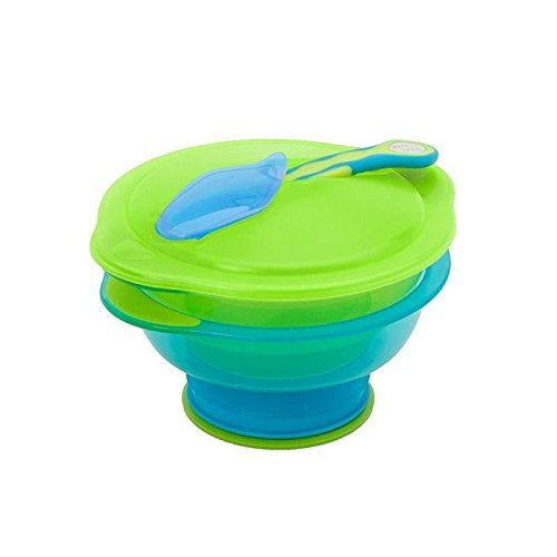 Vital Baby Travel Suction Bowl, Blue/Green - Pack of 4
