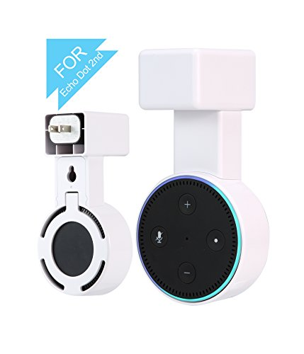 Sukira Outlet Wall Mount Hanger Stand Bracket For Amazon Echo Dot 2Nd Without Mess Wires Or Screws  Dot Accessories  Compact Holder Case Plug In Kitchens  Bathroom And Bedroom  White  1 Pack