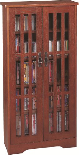 Leslie Dame M-371W High-Capacity Inlaid Glass Mission Style Multimedia Storage Cabinet, - Dvd Door / Cd Glass