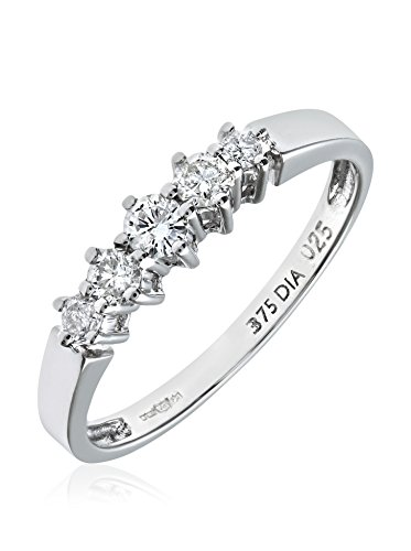 Revoni - Bague Éternité en or blanc 9 carats et diamants gradués 0,5 carat
