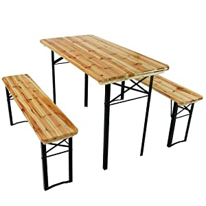 Trestle Table and Bench 3pc Set Wooden Folding Camping Outdoor