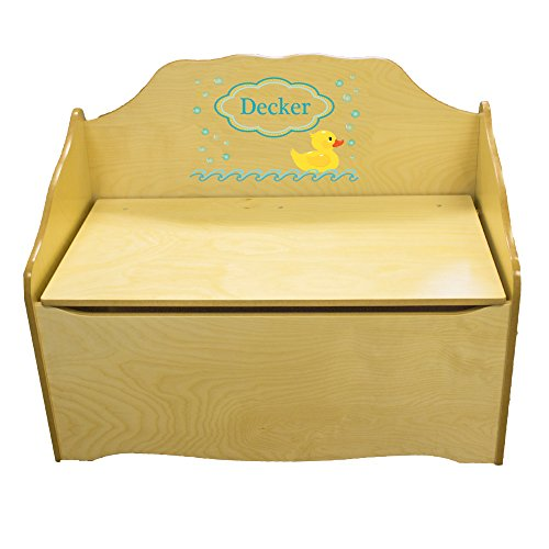 Personalized Rubber Ducky Childrens Natural Wooden Toy Chest by MyBambino