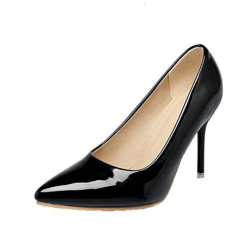 Alto Nero AgooLar di Puro Maiale Pelle Tirare Ballet Tacco Flats GMMDB006950 Donna xRXRg7a