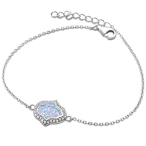 Sterling Silver Hamsa Bracelet - Lab Created White Opal Hamsa Symbol .925 Sterling Silver Bracelet