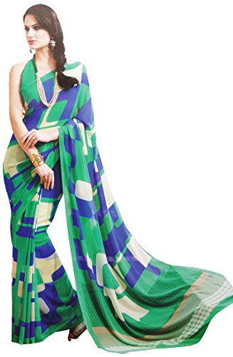 [Georgette Sari With Blouse Unstitched Abstract Printed Saree Indian Costume] (Bollywood Costume Party)
