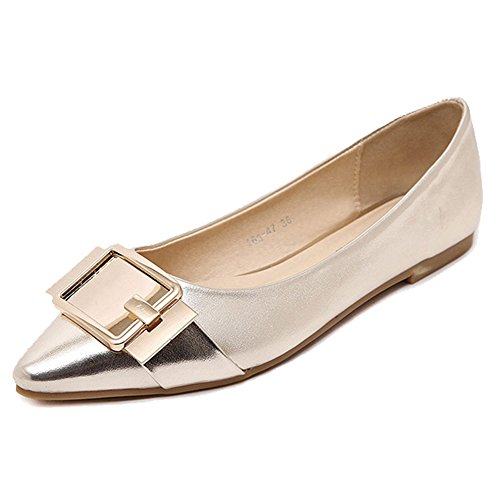 Mujeres Pointed Toe Glitter Shinny Ballerina Ballet Flats Slip On Gold