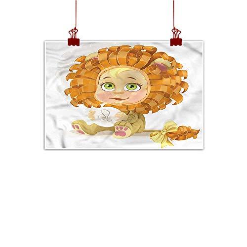 Anzhutwelve Wall Art Print Home Decor Zodiac Leo,Baby in Lion Costume 32