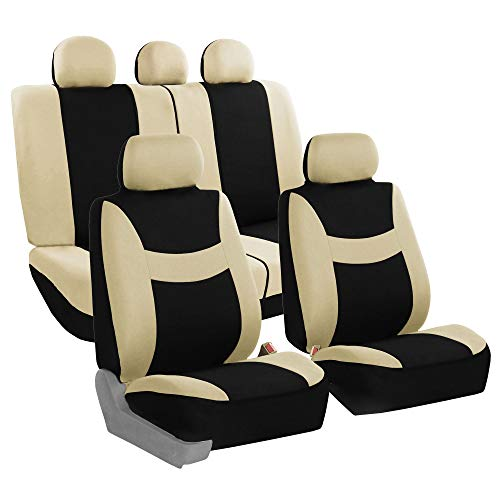 Seat Mitsubishi Car Covers Cover - FH Group FH-FB030115-SEAT Light & Breezy Beige/Black Cloth Seat Cover Set Airbag & Split Ready- Fit Most Car, Truck, SUV, or Van