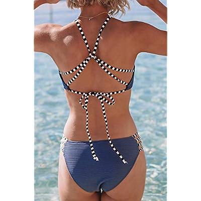 CUPSHE Women's Bamboo Leaves Print Bikini Crisscross Padded Swimsuit: Clothing