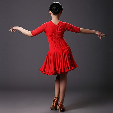 19f970bc5 WUDAOFU Latin Dance Dresses Children's Training Tulle/Viscose Pleated 1  Piece Red/Sky blue, l: Amazon.co.uk: Sports & Outdoors
