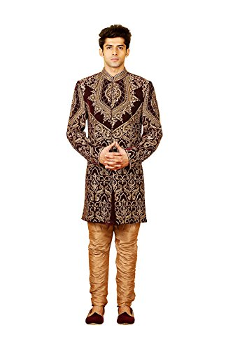 Jaipur Collections Mens Indo Western Wedding Wine Designer Partywear Traditional R-25424 ()