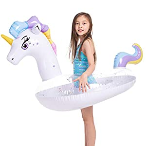JOYIN Inflatable Unicorn Pool Float with Glitters, Tubes for Floating, Fun Beach Floaties, Pool Toys, Summer Party…