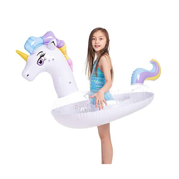 JOYIN Inflatable Unicorn Pool Float with Glitters, Tubes for Floating, Fun Beach Floaties, Pool Toys, Summer Party… 3