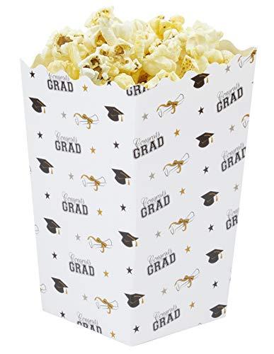 100-Pack Graduation Popcorn Boxes - 20oz Open Top Mini Popcorn Favor Containers, Paper Popcorn Boxes, Graduation Party Supplies, Congrats Grad Print, 3.3 x 5.5 Inches