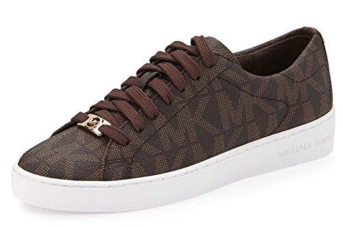 MICHAEL Michael Kors Women's Keaton Lace Up Brown Mk Sig Pvc Sneaker 9.5 M