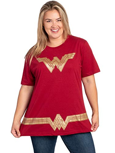 Cute Happy Halloween Logo (DC Comics Plus Size Womens T-Shirt Wonder Woman Logo Belt Costume (Dark Red,)