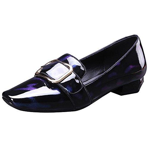 Bleu Glisser Escarpins Boucle Élégant Femme Chaussures Talon Rismart Chunky Sur Cuir xw5vCEq8