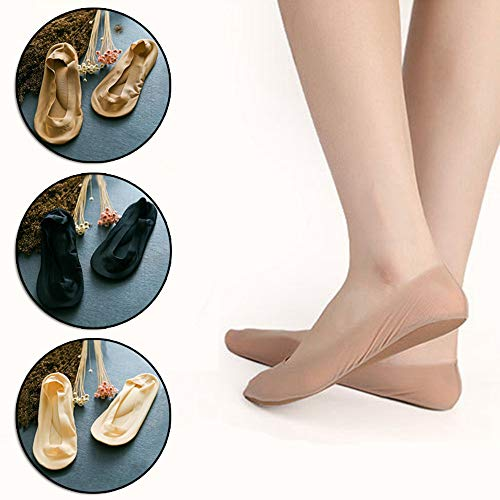 (Dynamic Items Shop 1 Pair 3D Arch Foot Massage Health Care Women Summer Socks Ice Silk Socks Shallow Mouth Silica Gel Invisible Slippers P0262)