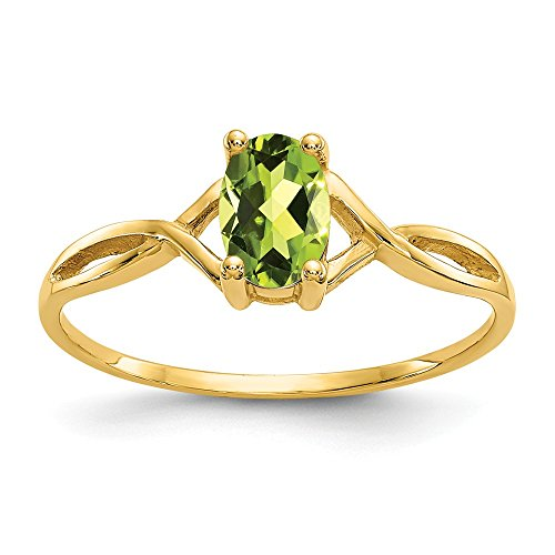 14k Yellow Gold Green Peridot Birthstone Band Ring Size 7.00 Stone August Oval Fine Jewelry Gifts For Women For Her ()