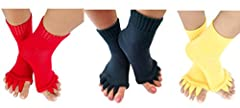 Toe separator socks are a wonderful and simple solution to help with general foot pain and provide relief for soreness. Why spend money on expensive foot massages when you can slip these on and give your toes a relaxing stretch! The best part...