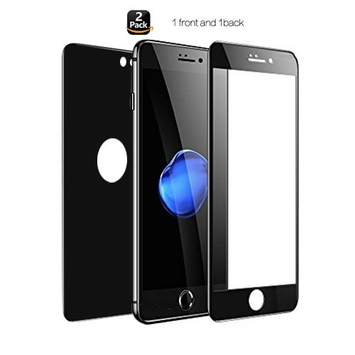 """Price comparison product image iPhone 7 Plus 8 Plus Screen Protector, Full Coverage iPhone 7 Plus iPhone 8 Plus Front Back Tempered Glass 3D Touch ,Anti-Scratch ,Case Friendly,No Bubbles 5.5"""" (Black)(Two pack-1 Front and 1 Back)"""