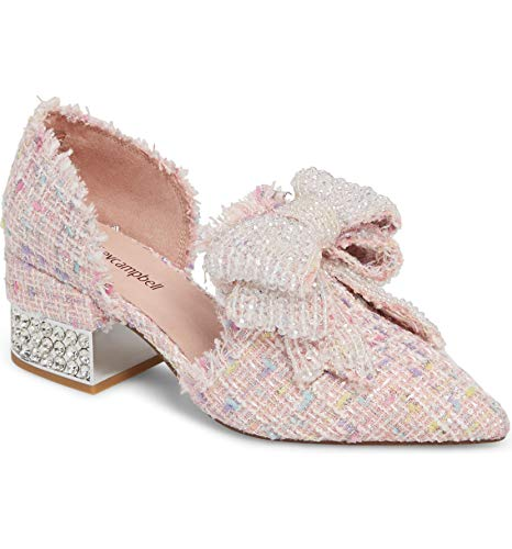 Jeffrey Campbell Valenti Pink Tweed Rhinstone Embellished Bow Loafer with Cube Heel 8