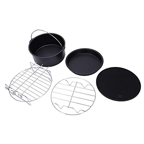 Gano Zen Cake Pan Set Air Fryer Accessories for Gowise Phillips and Cozyna or More Brand, Match All 3.7QT-5.3QT-5.8QT, Deep Fryers Universal Set of Black