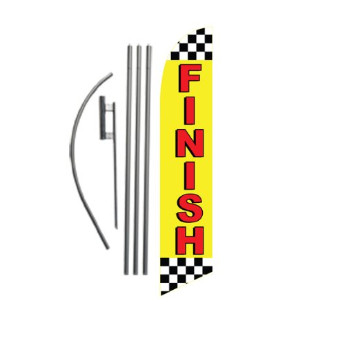 15ft FINISH marker Feather Banner Flag Set – INCLUDES 4pc POLE KIT w/ Ground Stake Review
