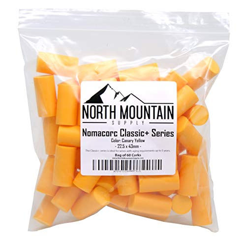 North Mountain Supply Synthetic Nomacorc Classic Series Corks 22.5 x 43mm- Bag of 60 (Canary - Bag Canary