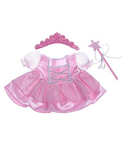 Fairy Princess w/Wand & Tiara Dress Teddy Bear Clothes Outfit Fit 14 - 18 Build-a-bear and Make Your Own Stuffed Animals