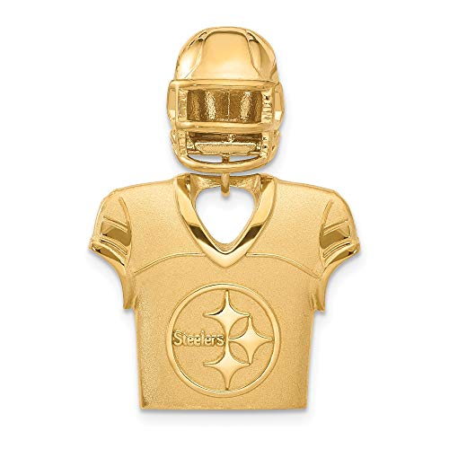 Kira Riley Gold Plated Pittsburgh Steelers Jersey & Helmet Pendant for Chains and Necklaces (Necklace Mlb Genuine)
