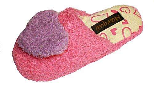 Coolers Damen Hausschuhe, Fleece, Herzmotiv, mit Fleece-Futter, SL - 6 Fuchsia