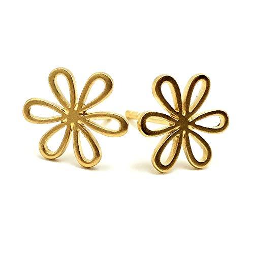 Gold Flower Earrings, Stud 24k Gold Vermeil Daisy Jewelry, Little Girl Gift, Dainty Posts