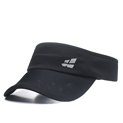 Sun Visor for Men Women,Premium Sports Tennis Golf Running Hat, Athletic Mesh Adjustable Cap (Black)