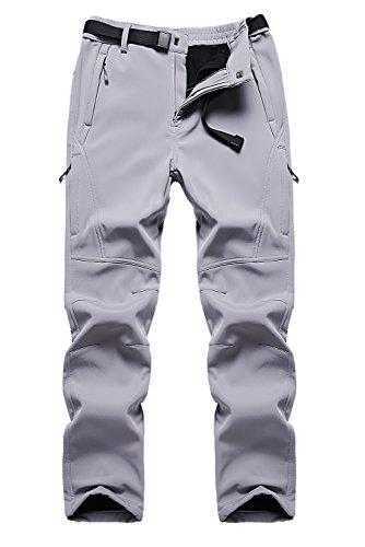 Ski Lift Tickets - Puuyfun Men's Outdoor Water Repellent Windproof Fleece Hiking Snow Ski Pants US9917M Lightgrey XL