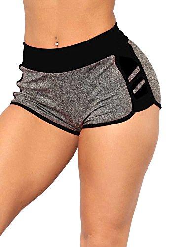 NVXIYYA Womens Color Block Patchwork Tummy Control Yoga Hot Shorts Running Pants