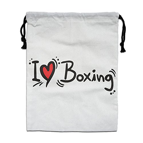 Reusable I Love Sport Boxing Bag Gym Drawstring Backpack White One Size