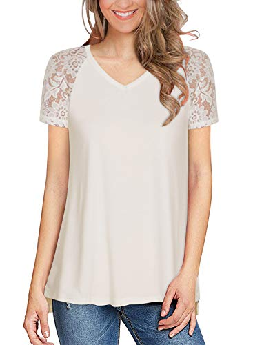 Women's White Lace Short Sleeve Tops Summer Casual V Neck T Shirts Side Slit Tunic