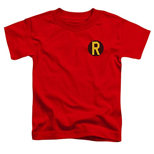 [Batman DC Comics Superhero Robin Costume R Logo Little Boys Tod T-Shirt] (1960s Batman And Robin Costumes)