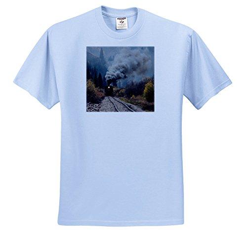 Danita Delimont - Trains - Colorado, Silverton. Durango and Silverton Narrow Gauge train. - T-Shirts - Adult Light-Blue-T-Shirt 2XL (ts_259093_54) - Silverton Four Light