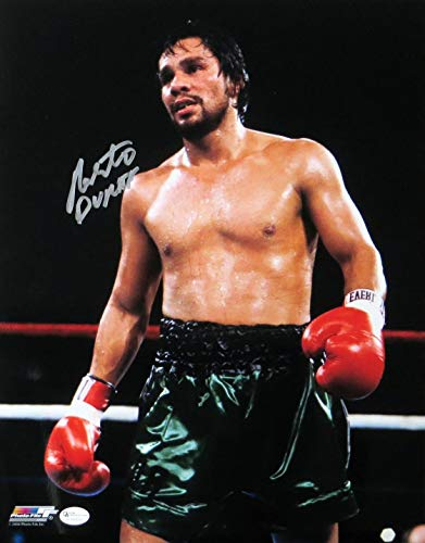 (Roberto Duran Signed Autographed 11X14 Photo Boxer Vintage Standing in Ring)