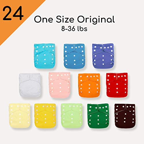 Kawaii Baby 24 Original Squared One Size Cloth Diapers with 48 Large Inserts for Babies 8-36 pounds| Reusable Nappy| Washable Diapers|