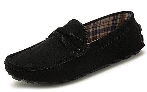 HAPPYSHOP(TM) Mens Leather Slip-on Casual Buckle Loafer Driving Mens Car Shoes Moccasins Slippers Black WzEZkpVpq