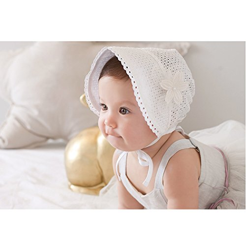 e5ce7f6a57d3 Spring Summer Baby Cotton Hat Hollow Lace-up Beanie Floral ...