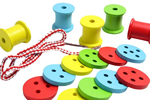 Curious Minds Busy Bags Wooden Buttons and Spools Lacing Toy - Fine Motor Wood Threading and Sorting Activity