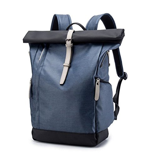 UKXMNC Multifunction Men PU Backpack Casual School College Bag For Laptop Waterproof Daypack Euro Rucksack Blue