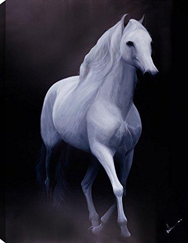 HobbitHoleCo 40x50 White Horse Acrylic Painting On Canvas Ready To Hang Large